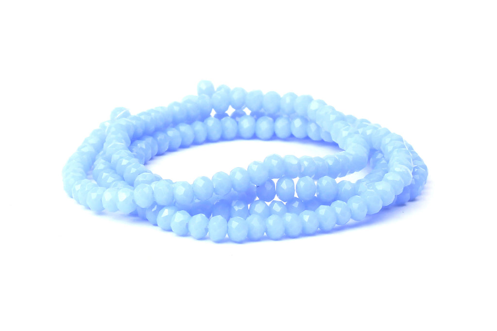 2x3mm Opaque Light Blue Crystal Glass Faceted Beads for jewellery making
