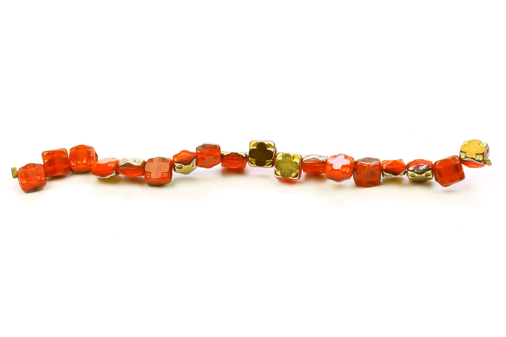 Kerrie Berrie Czech Glass Double Drilled Square 6mm Beads Strand
