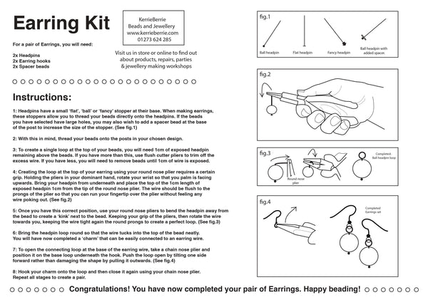 FREE Earring Making Instructions (Hard Copy Print Out)