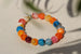 Kerrie Berrie Colourful Elasticated Genuine Real Agate Bracelet in Multi Colour Orange and Blue