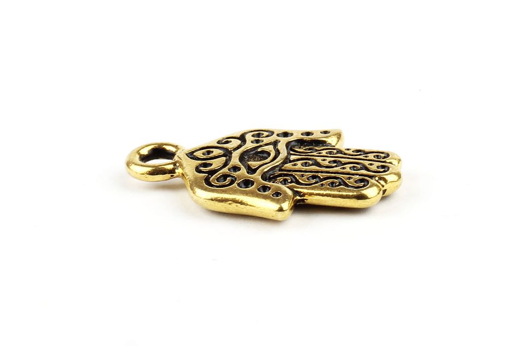 Kerrie Berrie Gold Plated Tierracast Hamsa Hand Charm for Jewellery Making