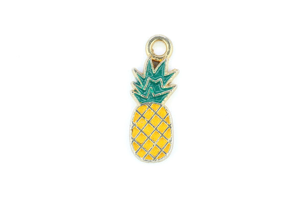 Kerrie Berrie Charms for Jewellery Making Tropical Pineapple Yellow Charm