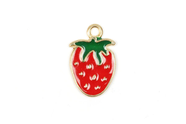 Kerrie Berrie Charms for Jewellery Making Gold and Red Enamel Cute Tiny Strawberry Charm