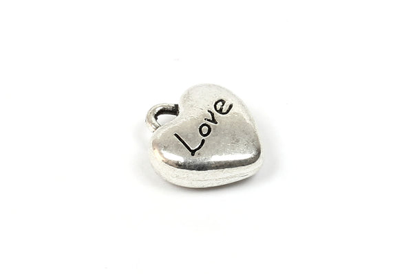 Kerrie Berrie Charms for Jewellery Making Silver Love Heart Romantic Charm