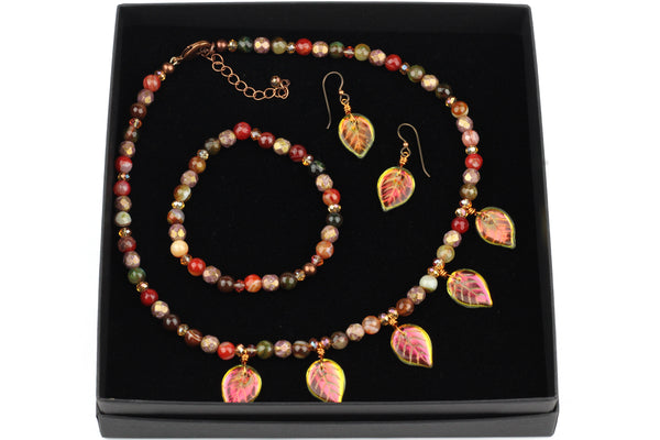 Handmade Beaded Autumn Leaf Jewellery Gift Set – Necklace, Bracelet & Earrings