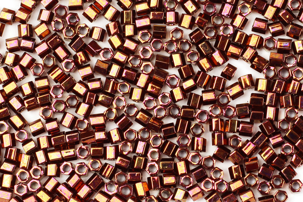 Kerrie Berrie Hex Seed Beads for Jewellery Making UK Delivery in metallic copper