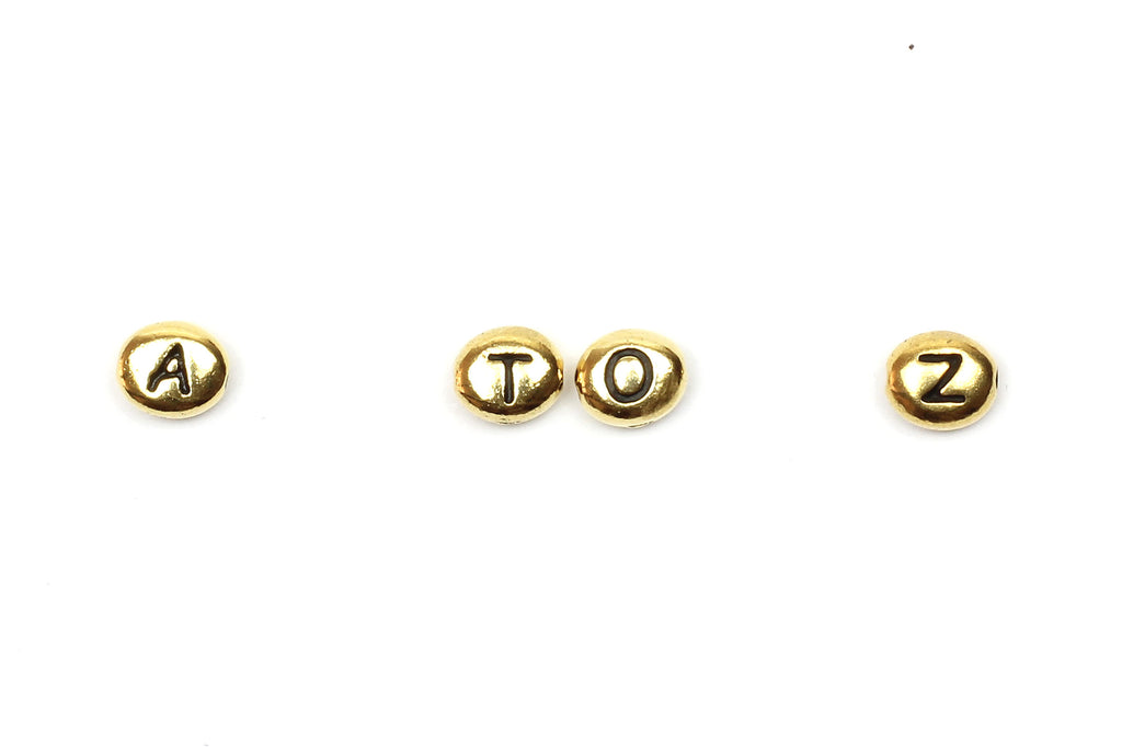 Kerrie Berrie Jewellery Making Beads Tiny Gold Letter Alphabet Beads