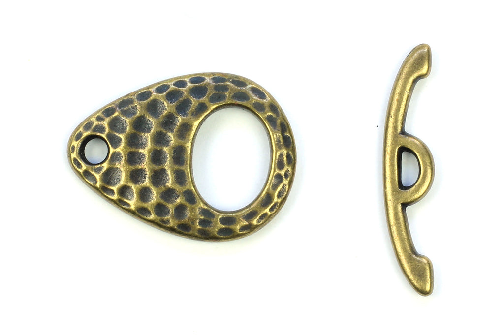 Kerrie Berrie Hammered Textured Antique Brass Toggle Clasp for Jewellery Making Toggle Necklace