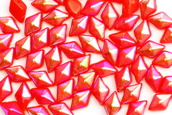 Kerrie Berrie UK Czech Glass Beads for Jewellery Making in Iridescent Red