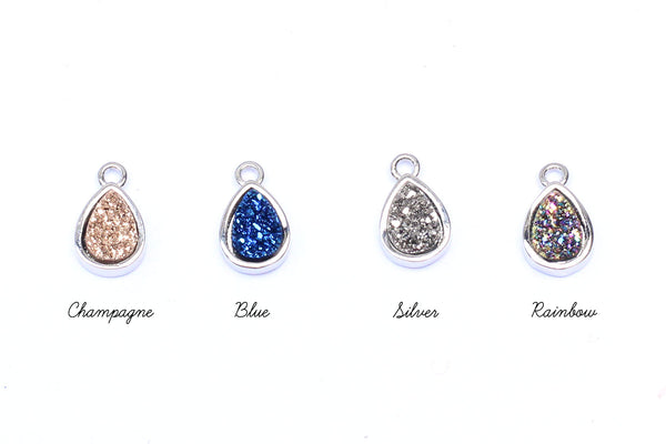 Druzy Crystal and Silver Teardrop Pendant Charms – CHOICE OF COLOURS
