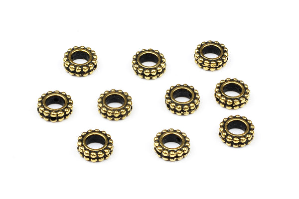 Decorative Tierracast Gold Round Bead Frames – 9mm (10 pcs)