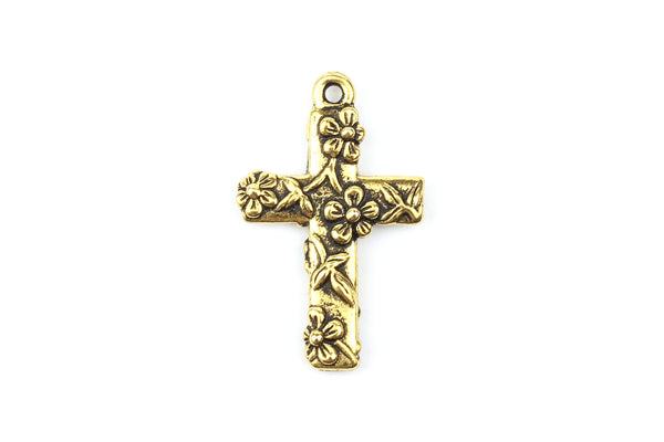 Tierracast Gold Plated Crucifix Cross with Floral Detail