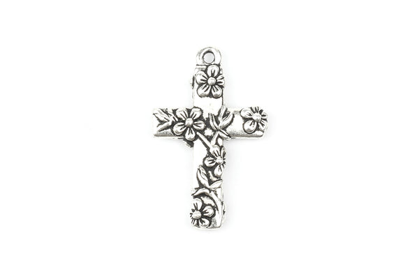 Tierracast Silver Plated Crucifix Cross with Floral Detail