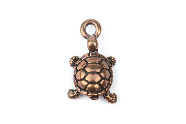 Tierracast Copper Tortoise Turtle Charm for Jewellery Making