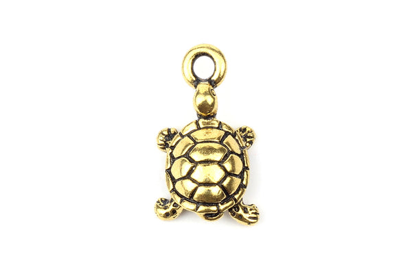 Tierracast Gold Plated Tortoise Turtle Charm for Jewellery Making