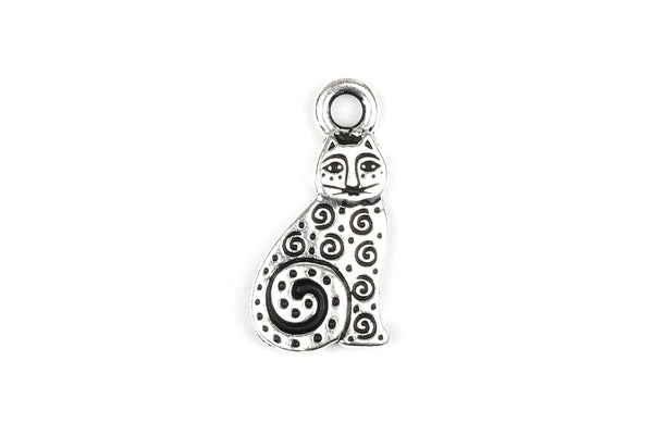 Kerrie Berrie Tierracast Silver Cat Charm for Jewellery Making