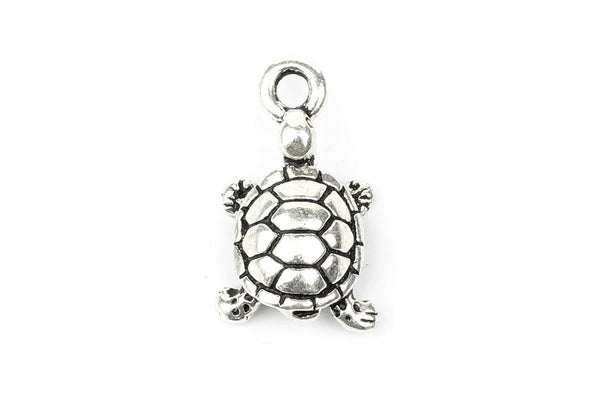 Tierracast Silver Plated Tortoise Turtle Charm for Jewellery Making