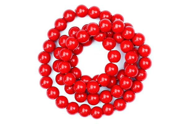 Red Colour Glass Beads – 6mm