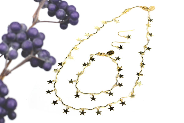 Kerrie Berrie Star Chain Jewellery Gift Set including Necklace, Bracelet and Earrings