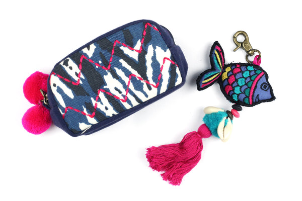 Embroidered Purse Zip Pouch and Fish key Ring Gift Set
