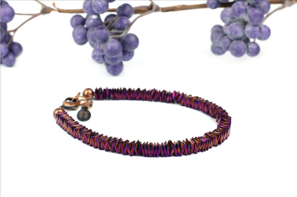 Kerrie Berrie UK_ Handmade Semi Precious Jewellery_Purple Irridescent Bracelet