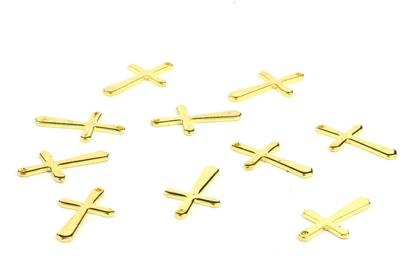 Kerrie Berrie Jewellery Making Supplies Gold Crucifix Cross Charms