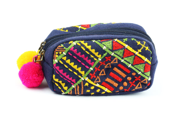 *50% OFF* Navy Embroidered Zip Purse with Multicolour Embroidery & Pom Poms