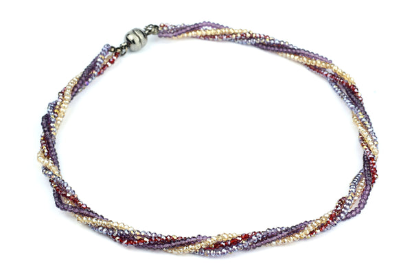 Purple Red and Cream Glass Beaded Handmade Necklace