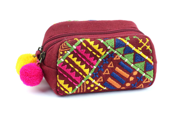 Kerrie Berrie Embroidered Purse with Pom Poms