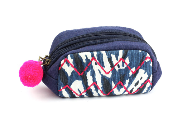 Navy Shibori Zip Purse with Pink Embroidery & Pom Poms