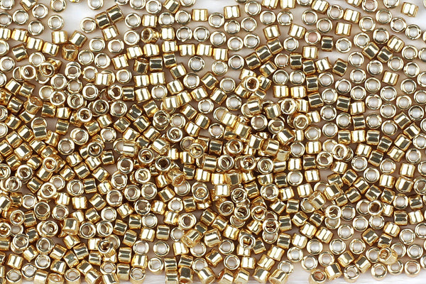 Kerrie Berrie UK Miyuki Seed Beads for Jewellery Making Size 11 Miyuki Delicia Seed Beads in Bright Gold