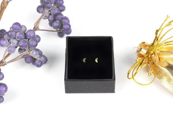 Real Gold-Plated Tiny Crescent Moon Stud Earrings (3mm x 2mm)