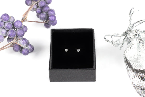 Kerrie Berrie Sterling Silver Tiny Heart Stud Earrings
