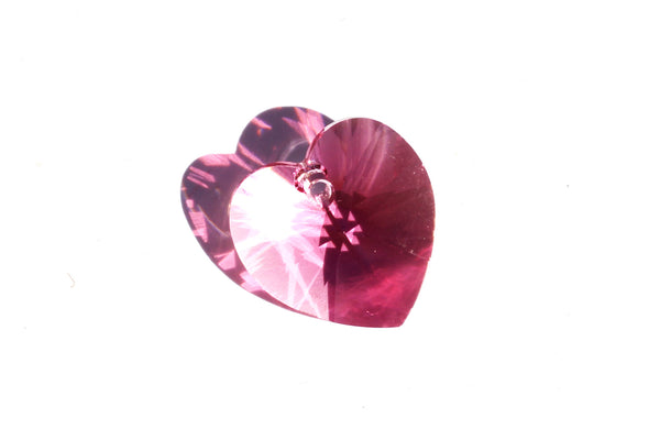 Kerrie Berrie Jewellery Making Supplies Heart Shaped Swarovski Crystal Bead in Pink