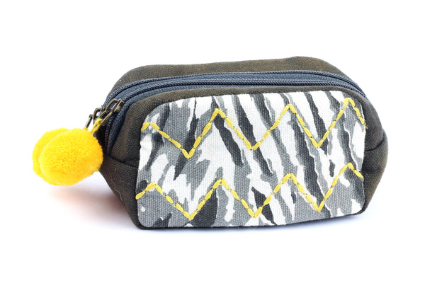 Kerrie Berrie Shibori Purse with Embroidery and Pom Poms
