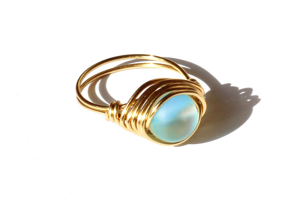 Kerrie Berrie UK Wire-wrapped Blue Glow Bead Ring