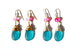 Kerrie Berrie Austrian Glow Glass Bead Drop Earrings in Teal and Pink