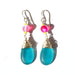 Teal 'Seaglass' Austrian 'Glow Bead' Drop Earrings – CHOICE of Silver or Gold