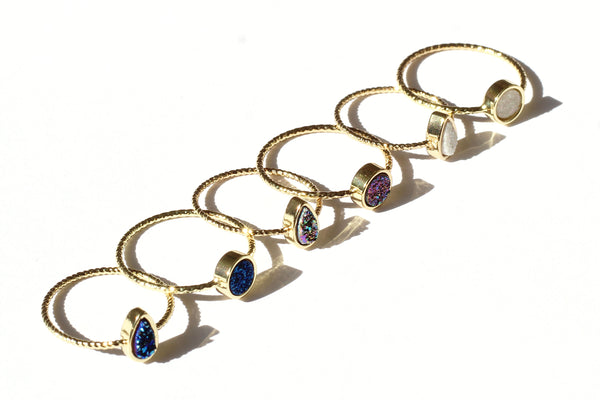 Kerrie Berrie Gold plated Drusy Delicate Druzy Crystal Stacking Rings
