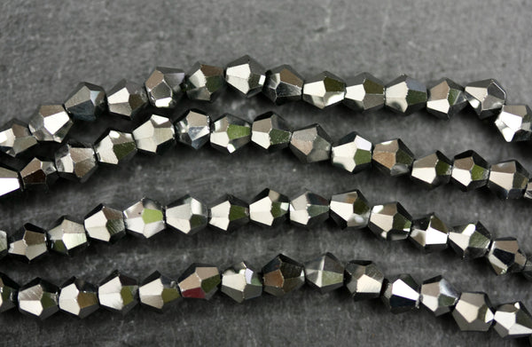 Kerrie Berrie UK 4mm Glass Bicone Beads for Jewellery Making and Beading in Iridescent Pewter Grey