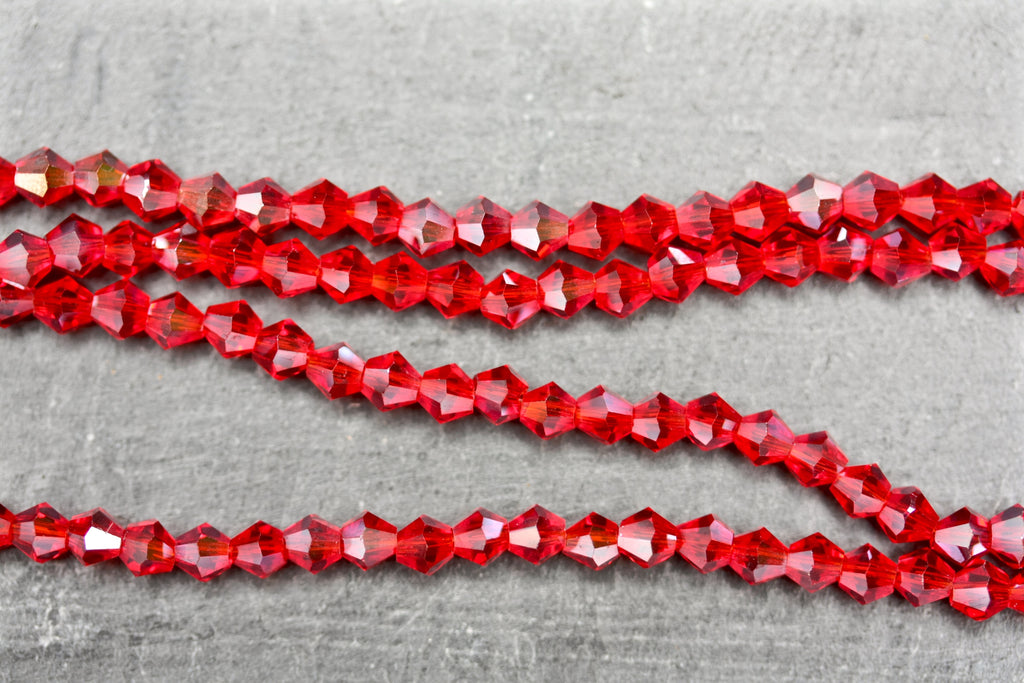 Kerrie Berrie UK 4mm Glass Bicone Beads for Jewellery Making and Beading in Transparent Red