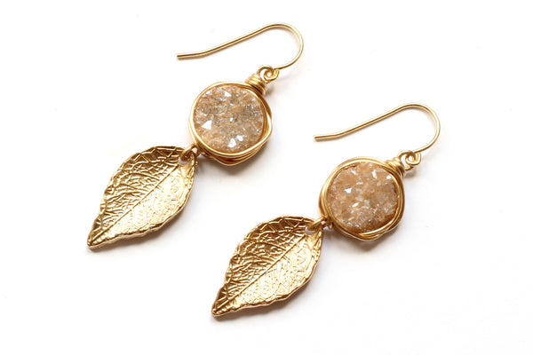 Kerrie Berrie Gold plated Champagne Druzy Crystal Earrings Drusy Jewellery GoldLeaf Charm