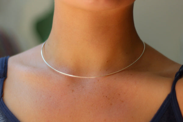 "Sterling Silver 'Omega' Choker Necklace – 16"" or 18"" Length"