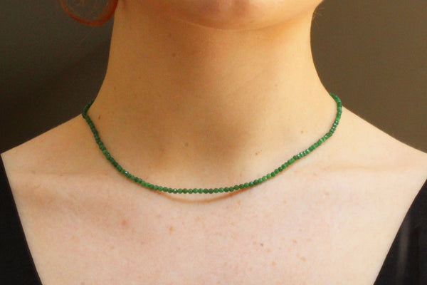 Green Agate Semi-Precious Necklace (Choice of Silver or Gold Clasp)