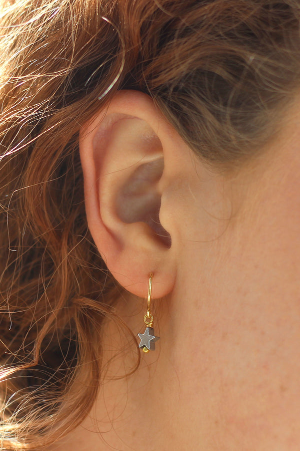 Kerrie Berrie Handmade Star Hoop Earrings in Silver and Gold