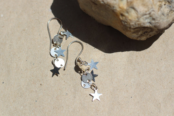 Kerrie Berrie Handmade Silver Star Dangle Drop Earrings From Star Collection