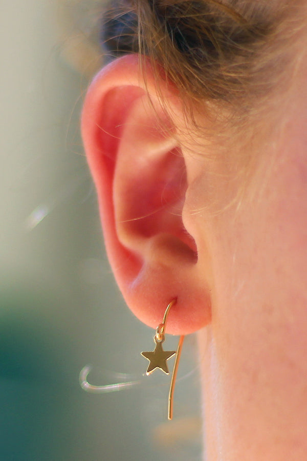 Kerrie Berrie Handmade Gold Star Drop Earrings From Star Collection