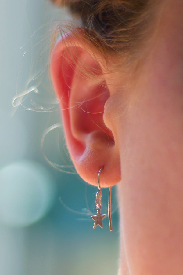 Kerrie Berrie Handmade Silver Star Drop Earrings From Star Collection