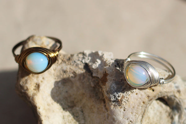 Kerrie Berrie Handmade Wire-wrapped Opalite Ring