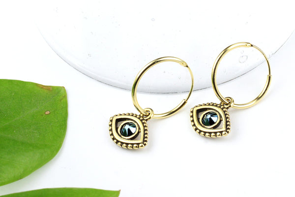 Gold Filled Hoop Earrings with Swarovski 'Evil Eye' Charms